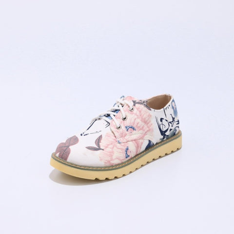 Round Toe Lace Up Floral Printed Flat Shoes for Women MF9781