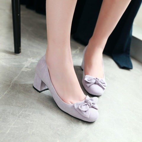 Candy Color Bow Tie Women Pumps Mid Chunky Heels Shoes