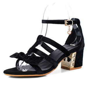 Bow Women Gladiator Sandals Chunky Heels Shoes MF7966