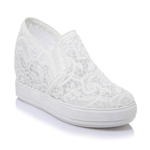 Woman's High-heeled Lace Platform Wedges Casual Shoes