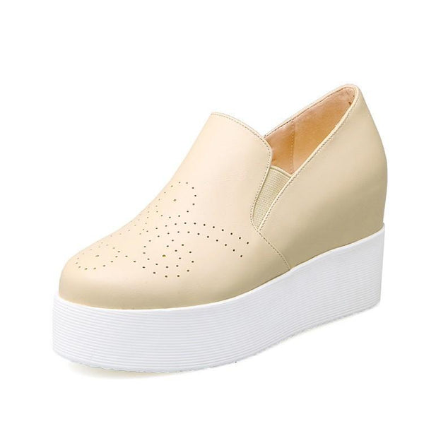 Lady Leisure College Wind Leisure Thick Bottom Increased Student Platform Wedges