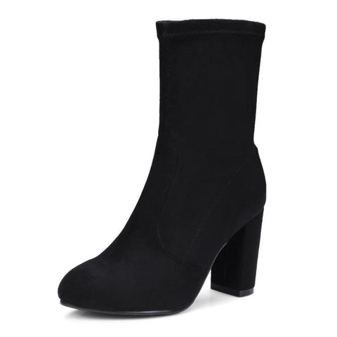 Stitching Slip On Suede Mid Calf Boots 9466