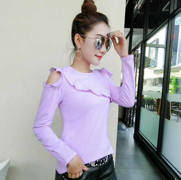 Round Neck Cold Shoulder Long Sleeve Women T-shirt 8253