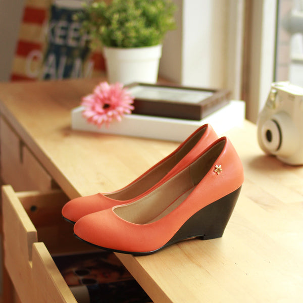 Pu Leather High Heel Wedge Shoes Woman 5763