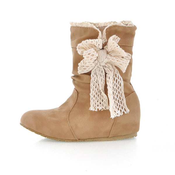 Bowtie Wedge Boots Plus Size Women Shoes 7952