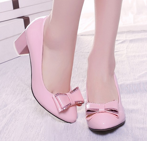 Bow Chunky Pumps Medium Heel Shoes for Woman 5975