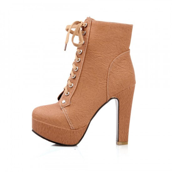Details about  /Womens Fashion Round toes Lace Up Flats Heel Casual Winter Ankle Boots DIWY