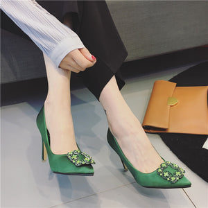 Pointed Toe Rhinestone Satin High Heels 8936