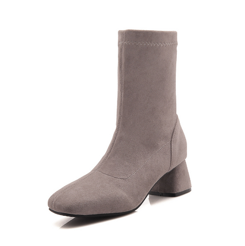 Faux Suede Mid Calf Boots Rubber Sole