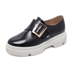 Buckle Platform Wedges Heels Shoes for Women 2472