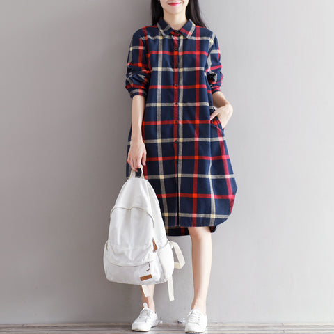 Checked Button Up Slit Blouse 2306