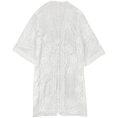 Embroidered Sheer Kimono Cover Up 4629