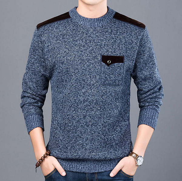 Crew Neck Color Blocking Knitted Men Sweater Pullover 9885