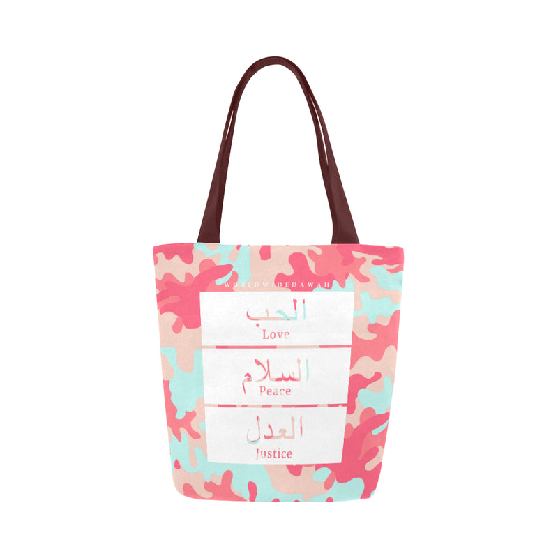 Love Peace Justice Camo Canvas Tote Bag - World Wide Dawah