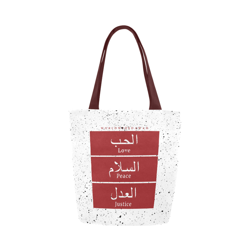 Love Peace Justice Red Canvas Tote Bag