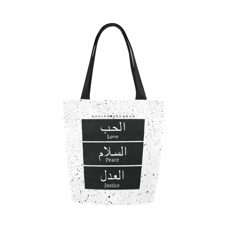 Love Peace Justice Black Canvas Tote Bag - World Wide Dawah