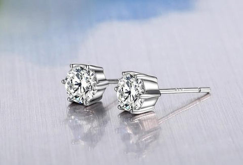 Classic Solitaire Stud Earrings