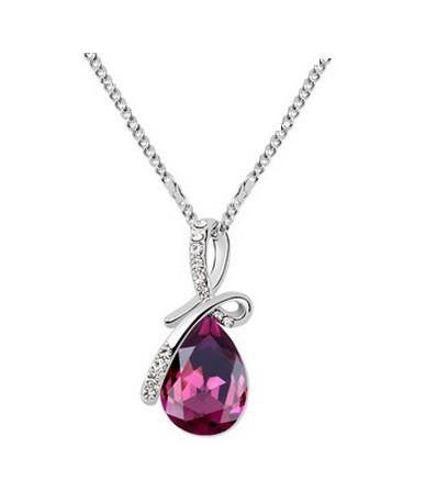 Ocean Tear Necklace Fuchsia