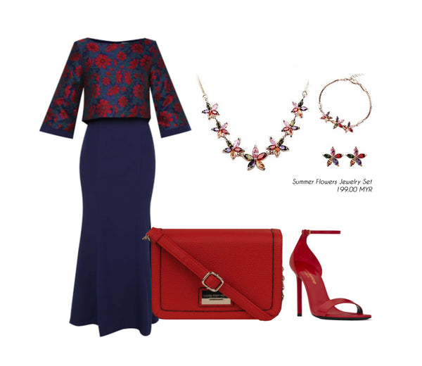 Vivere Rosse Summer Flowers Jewelry Set