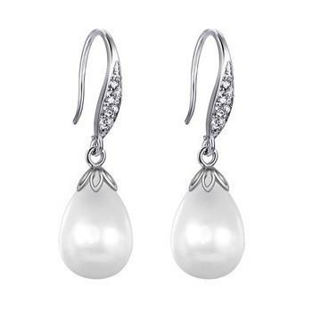 Sea Shell Pearl with Cubic Zirconia Drop Earrings