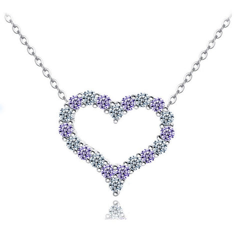 Dazzling Heart Necklace - Amethyst - VivereRosse
