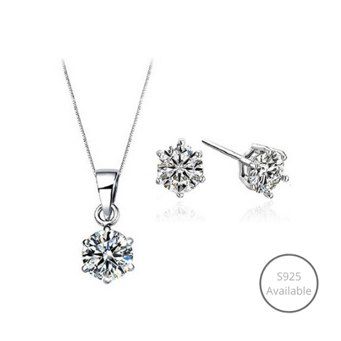 Classic Solitaire 925 Sterling Silver Jewelry Set (Necklace + Earrings)