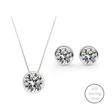 Bedazzling 925 Sterling Silver Jewelry Set (Necklace + Earrings)