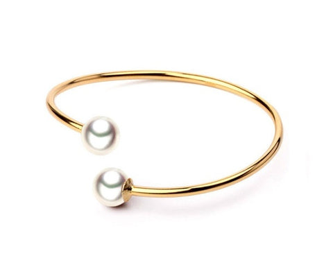 Twelfth Night Pearl Bangle - Gold