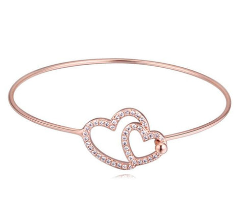 Tween Hearts Bangle - Rose Gold