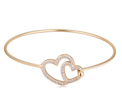 Tween Hearts Bangle - Gold