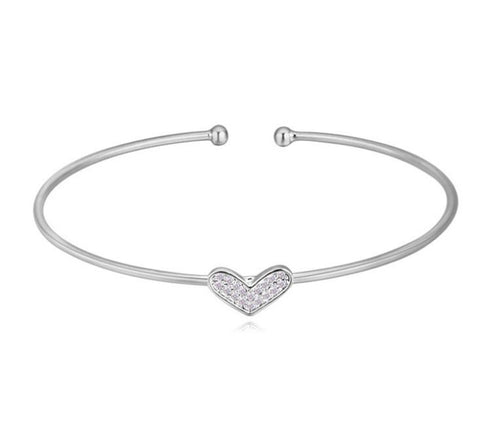 Kieziah Heart Bangle - Silver