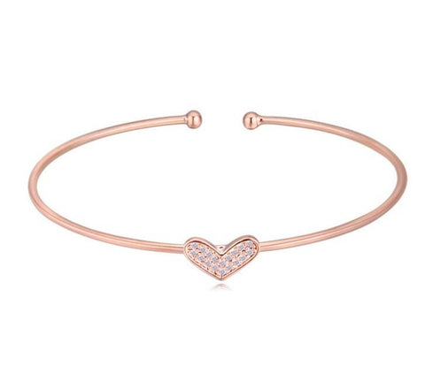 Kieziah Heart Bangle - Rose Gold