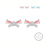 Blush Bow Stud Earrings