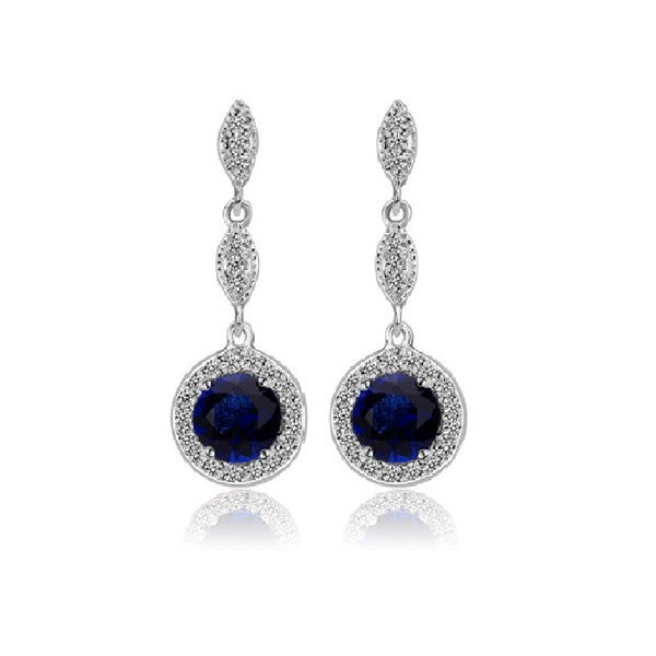 Monroe Link Earrings - Sapphire Blue