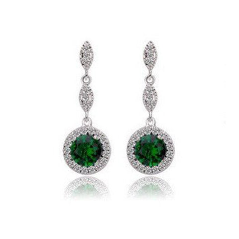 Monroe Link Earrings - Emerald Green