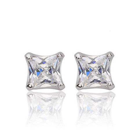 Square Solitaire Stud Earrings