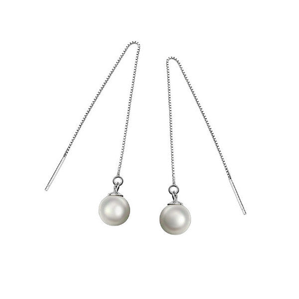 Luminous Pearl Drop Earrings - Silver - VivereRosse