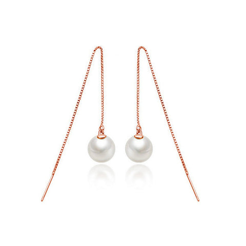 Luminous Pearl Drop Earrings - Rose Gold - VivereRosse