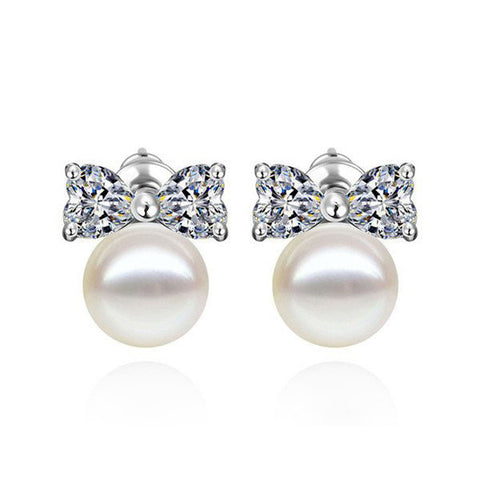 Pearly Bow Stud Earrings