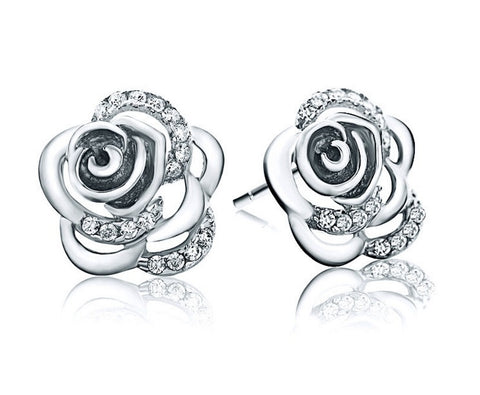 Camelia Flower Stud Earrings - Silver - VivereRosse