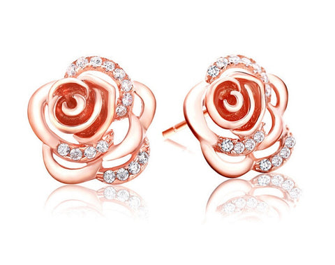 Camelia Flower Stud Earrings - Rose Gold