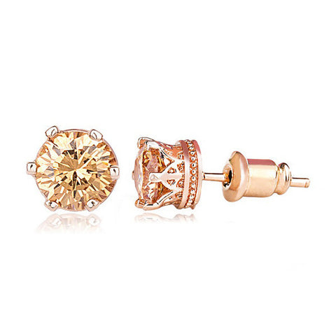 Classic Solitaire Gold Stud Earrings