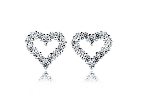 Dazzling Heart Stud Earrings