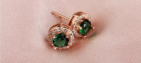 Vivere Rosse Emerald Eye Stud Earrings
