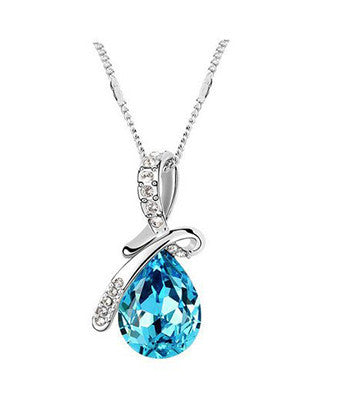 Ocean Tear Necklace - Aquamarine