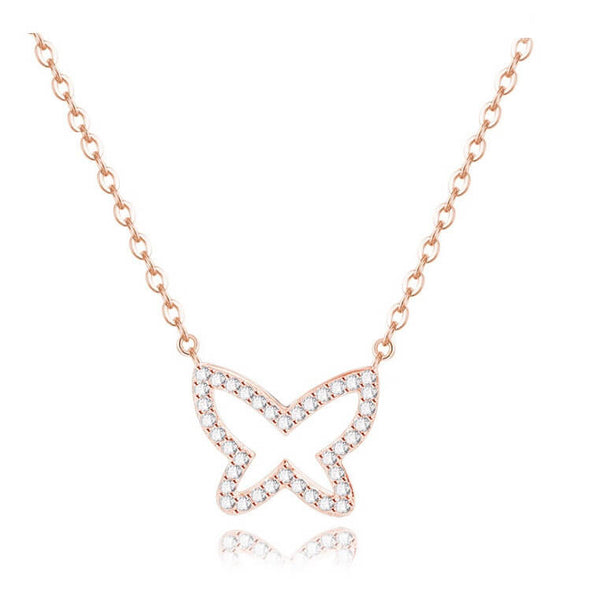Glitter Fly Necklace - Rose Gold
