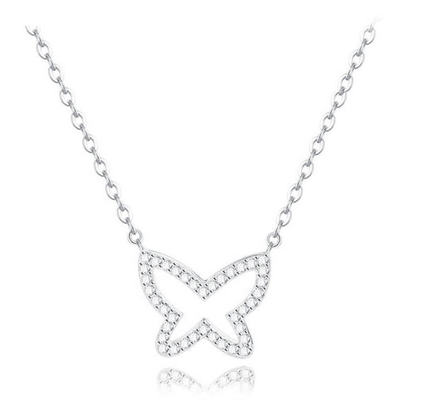 Glitter Fly Necklace - Silver
