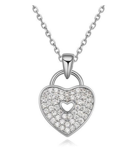 Heart Lock Necklace - Silver