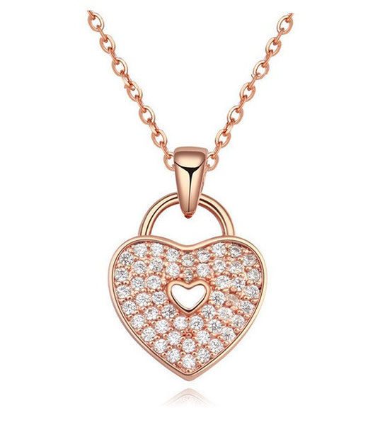 Heart Lock Necklace - Rose Gold - VivereRosse