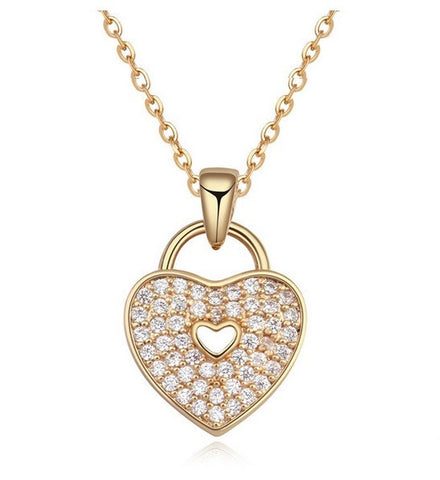 Heart Lock Necklace - Gold - VivereRosse